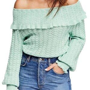Free People Crazy In Love Crochet Off Shoulder Top
